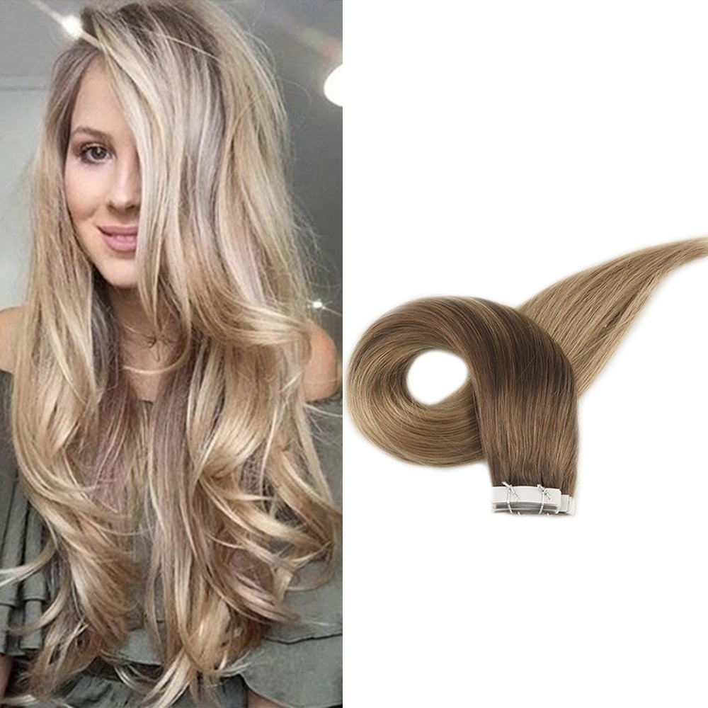 Amazon Full Shine 18 Inch Human Hair Tape Extensions Brown To