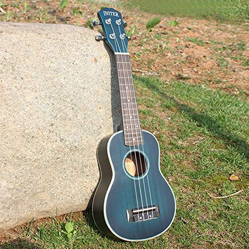 LeSharp Orchestral Instrument, Gradient Blue 4 Strings 21 Inch Wooden Ukulele Mini Guitar Music Instrument