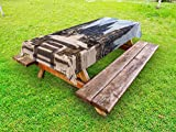 Lunarable Ancient Outdoor Tablecloth, Old Cut Stone Asian Building Sewu Temple in Indonesia Religious Architecture, Decorative Washable Picnic Table Cloth, 58 X 120 Inches, Grey and White