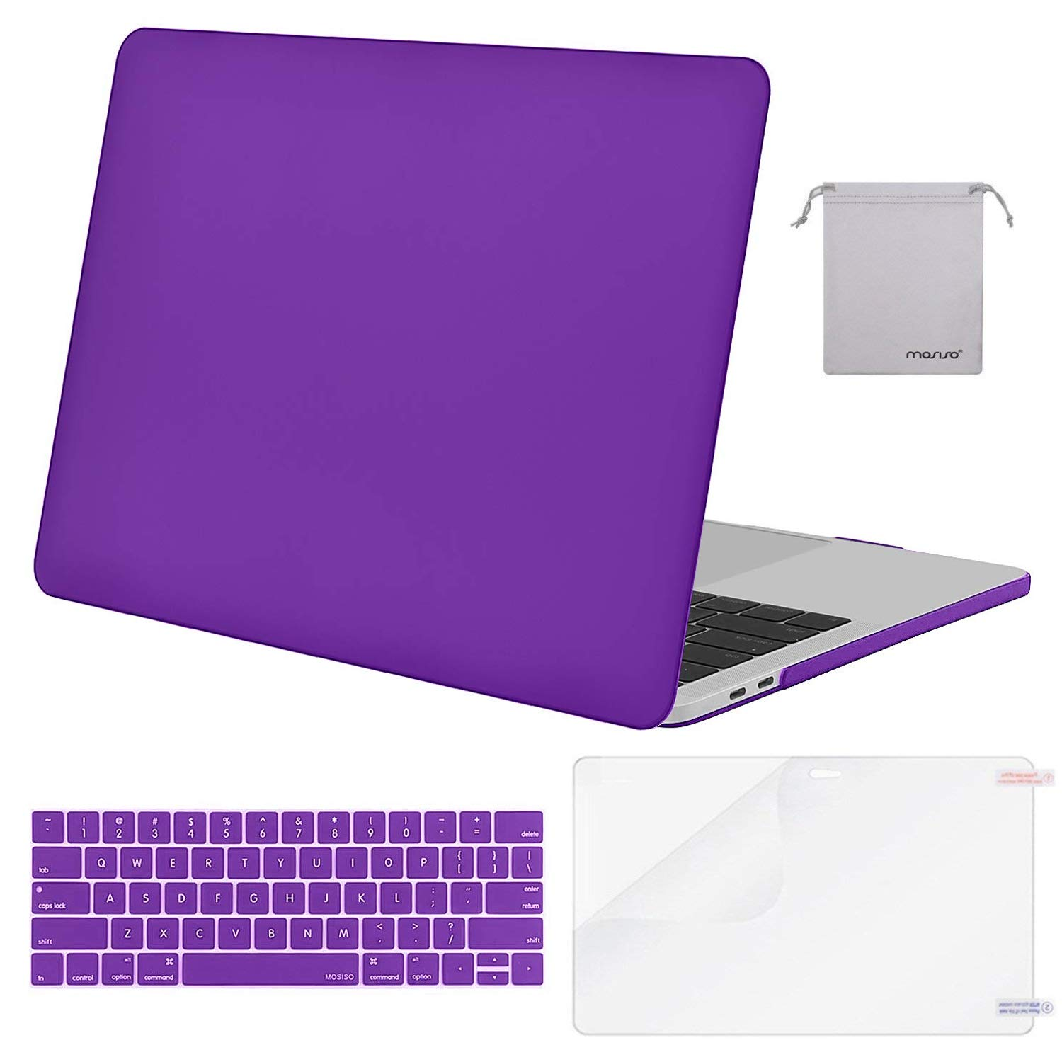 MOSISO MacBook Pro 13 inch Case 2019 2018 2017 2016 Release A2159 A1989 A1706 A1708 Plastic Hard Shell /&Keyboard Cover /&Screen Protector /&Storage Bag Compatible with MacBook Pro 13 Airy Blue