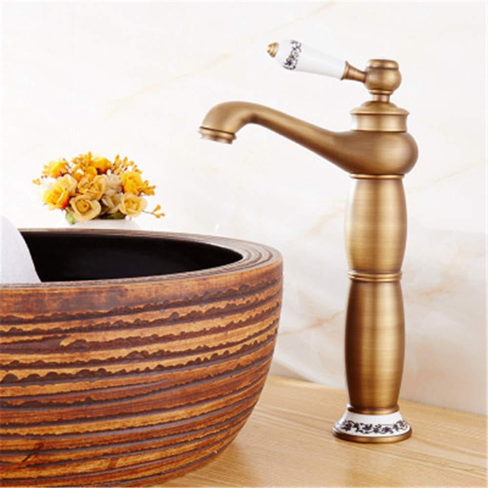 360 ° drehbare Wasserhahn Retro Wasserhahn Lampe Wasserhahn blau und weiß Porzellan über Aufsatzbecken heiße und kalte Einloch-Wasserhahn