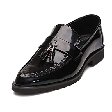 2115e482a MUMUWU Men s Business Smooth PU Leather Shoes Classic Slip-on Loafers  Tassel Pendant Decoration Outsole