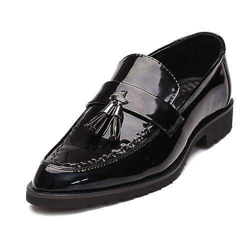 Chaussures en Cuir pour Hommes Business PU Classique Slip-on Mocassins Pompon Décoration Outsole Oxfords Chaussures de Sport en Cuir pour Hommes (Color : Black, Size : 44 EU)