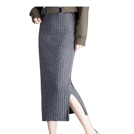 JIN PING® Faldas de punto, paquete de sección larga cadera de ...