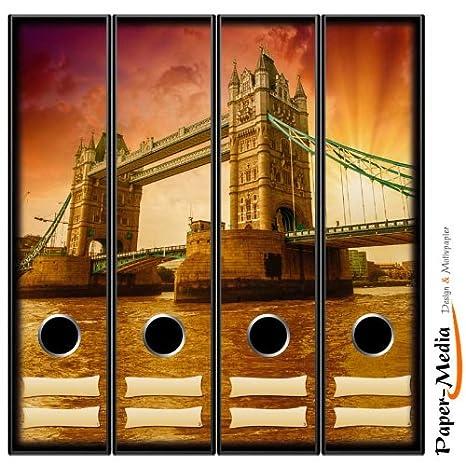 Paper-Media - Juego de 4 archivadores (DIN A4, 65 x 300 mm), diseño de Tower Bridge: Amazon.es: Oficina y papelería