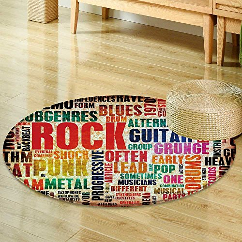 Small Round Rug CarpetRock Music Poster Art as Grunge Back