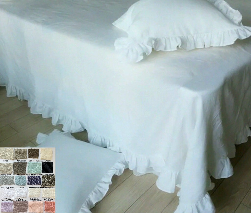 Image of Home and Kitchen Natural Linen Throw Blanket with Ruffles. Machine Washable! FREE SHIPPING