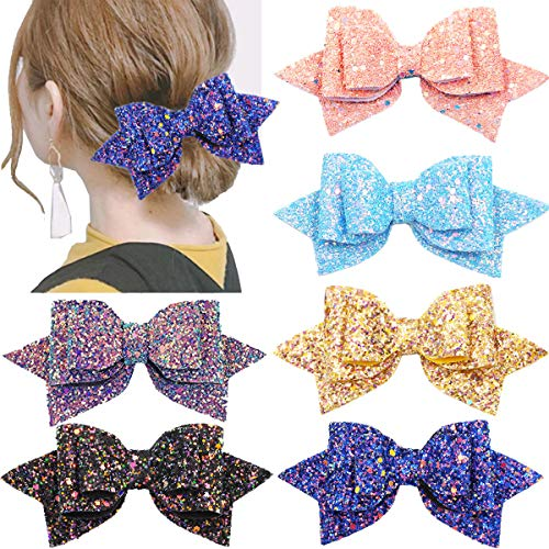 6PCS 5Inch Glitter Hair Bows Large Big Bling Sparkly Sequin Glitter Bows Alligator Hair Clips Hair Accessories for Baby Girls Toddlers Kids Teens Women