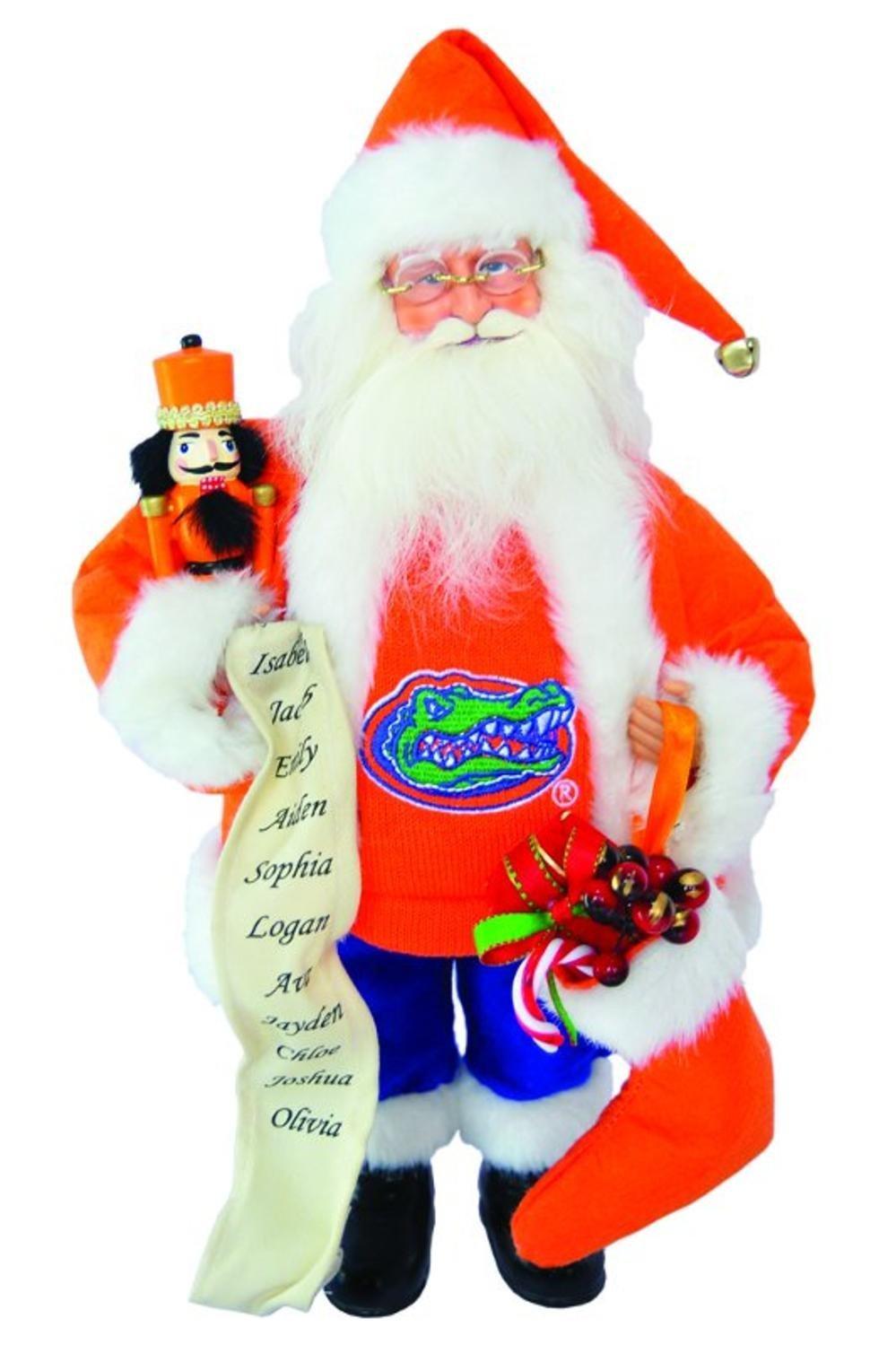 15'' NCAA Florida Gators Santa Claus Christmas Figure with Nutcracker & Stocking