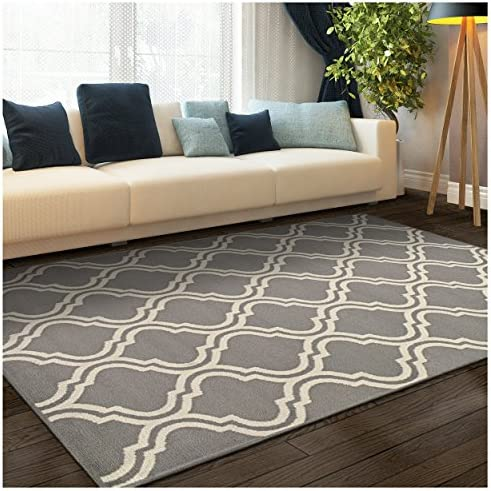 Superior Double Trellis Collection Area Rug, Attractive Rug with Jute Backing, Durable and Beautiful Woven Structure, Contemporary Geometric Trellis Rug – 8 x 10