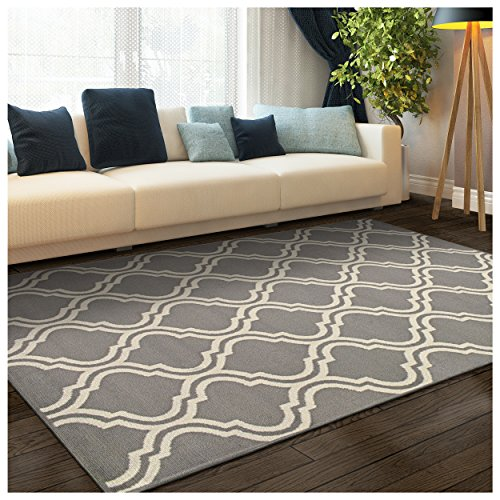 Superior Double Trellis Collection Area Rug, Attractive Rug with Jute Backing, Durable and Beautiful Woven Structure, Contemporary Geometric Trellis Rug - 2'7