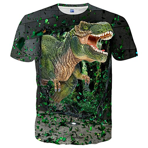 YAJOOEY Unisex Casual 3D Colored Print Short Sleeve Shirts Tees M