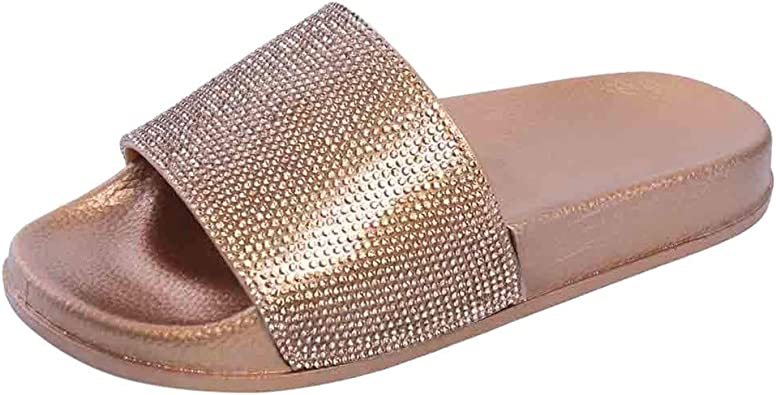 Womens Flat Ankle Strap Sandals Diamante Sparkly Ladies Beach Shoes Size UK4-7