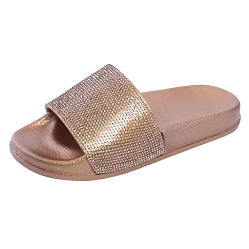 e2d802447a63 Amazon.com  TANGSen Womens Flat Slides Sandals Diamante Sparkly Sliders  Colorful Diamond Slippers Ladies Fashion Casual Summer Shoes  Shoes