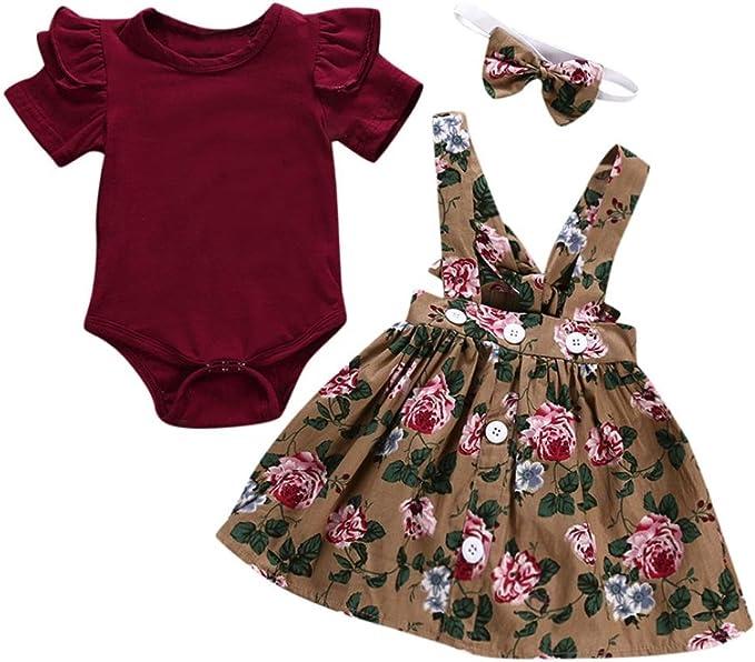 Blumendruck Rock Haarband Hreiteiligen Anzug BeautyTop 0-24 Monat Kleidung Set Baby M/ädchen Kleinkind Baby Toddler Kinder kurz/ärmeligen 3 St/ück Kind Baby Kurzarm Spielanzug