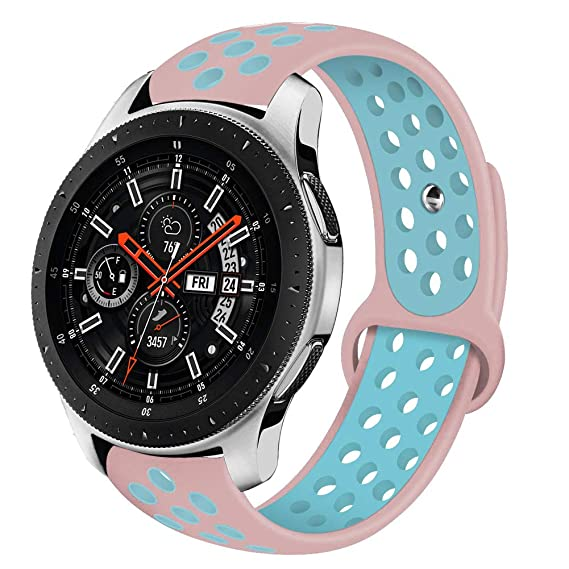 VIGOSS Compatible with Galaxy 46mm Watch Bands/Gear S3 Frontier Bands, 22mm Soft Silicone Band Breathable Replacement Strap Wristband for Samsung Gear ...