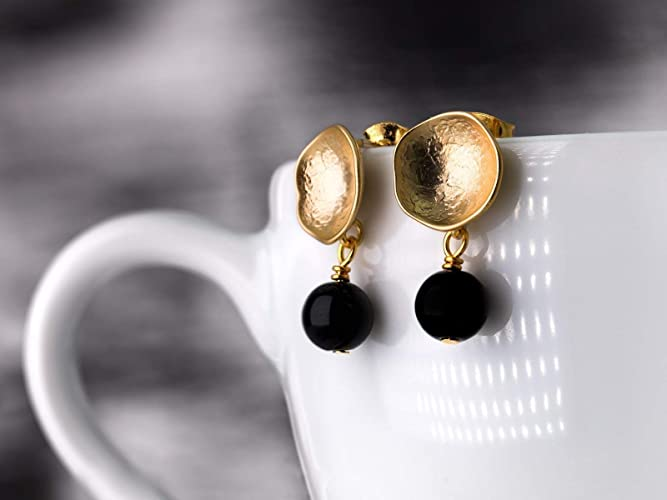 Moderne Ohrringe In Gold Und Schwarzschlichte Ohrstecker Gold Matt