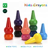 Finger Crayons for Toddlers,Non-Toxic 12 Colors Kids Crayons, Washable Palm-Grip Crayons by Apicallife