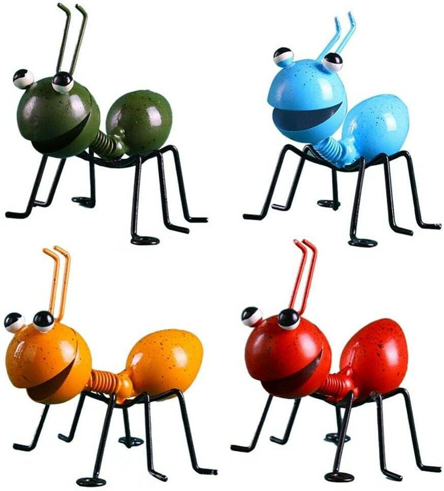 Garden Art Metal Sculpture Ant, Ornament Cute Insect Art Garden Lawn Decor, Garden Decor Ladybugs Live for Garden, Cute 3D Sculpture Ornaments for Home Garden Yard Outdoor Decoration (4pcs)