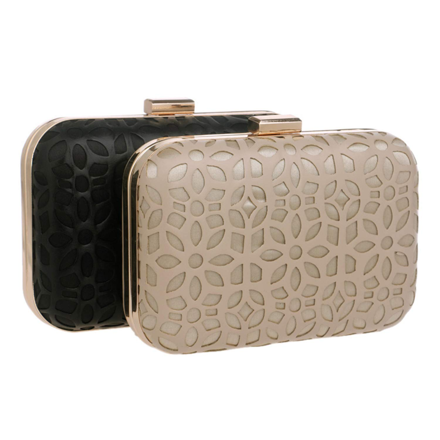 Fashion Hollow Out Style Pu Evening Bags With Chain Shoulder Day Clutches Evening Bags Black//Gold Purse Wallets