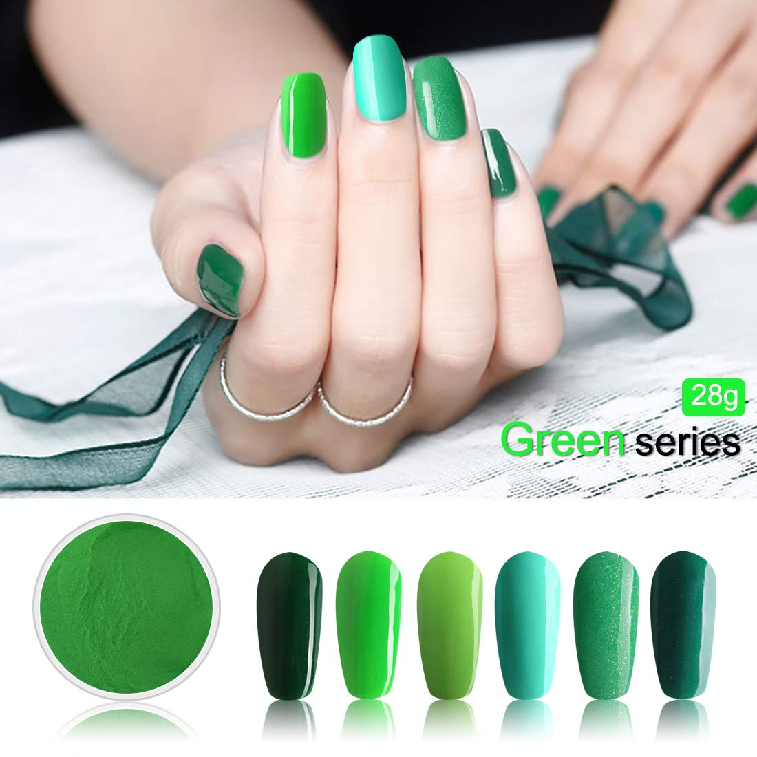 Amazon.com: 28g/Box Green Color Dipping Powder No Lamp Cure Nails ...