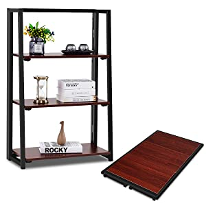 Giantex Folding Bookshelf Bookcase W/Top Shelf No Assemble Industrial Ladder for Living Room Bedroom Balcony, Multifunctional Plant Flower Display Stand Shelf Decor, Espresso (3 Tier)