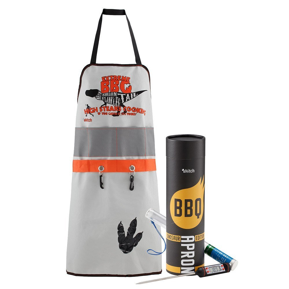 BBQ King Barbeque Man Apron with Digital Meat Thermometer - Dinosaur eKitch
