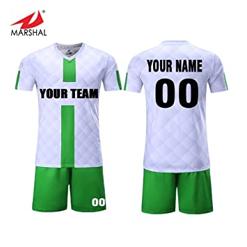 7e724fed669 ZHOUKA Blank youth club custom jerseys football shirt uniform set  sportswear soccer jersey (Green,