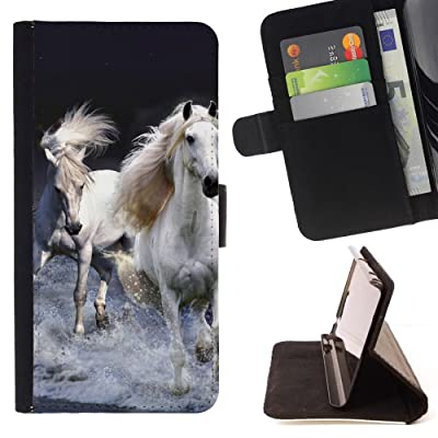 FJCases Blanco Caballo Semental Animal Carcasa Funda Billetera con Ranuras para Tarjetas y Soporte Plegable para Motorola Moto X4
