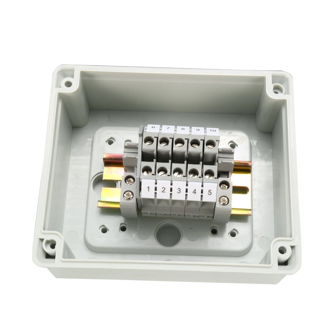 uxcell 5.5''x4.7''x2.8''(139mmx119mmx70mm) ABS Flame Retardant Dustproof IP65 Junction Box Universal Project Enclosure w 5Terminal by uxcell (Image #2)