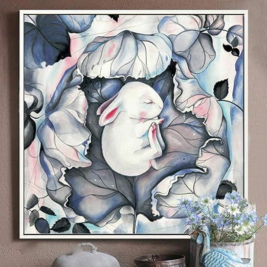 tzxdbh 100% Pintado a Mano Abstracto Conejo Arte Pintura al óleo ...