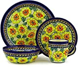 Polish Pottery 4-Piece Place Setting WAWEL (Lemon Poppies Theme) Signature UNIKAT + Certificate of Authenticity