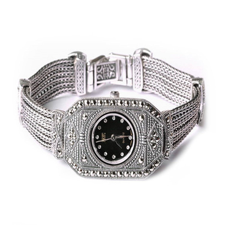 Sterling Silber Luxus Vintage Armbanduhr 925 Silber Armband mit Markasit Schmuck fÜr Frauen