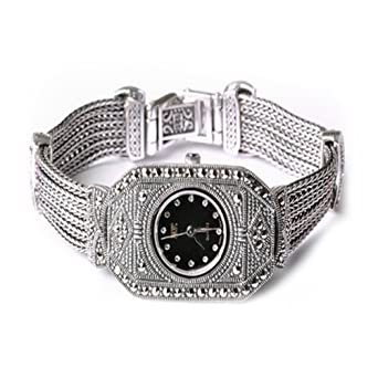 Sterling Silver Luxury Vintage Watch 925 Silver Bracelet with Marcasite Jewelry for Women
