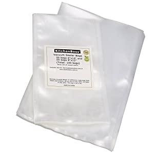 """KitchenBoss 50 Pint Size 6""""x10"""" and 50 Quart Size 8""""x12"""" Vacuum Sealer Bags. Commercial Grade for Food Vacuum Storage Bags for Food Saver and Sous Vide (Total 100 Bags)"""