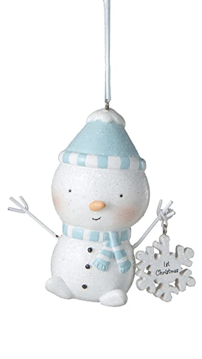 blue baby boy first christmas baby snowman resin christmas ornament size 35 in - Baby Boy First Christmas Ornament