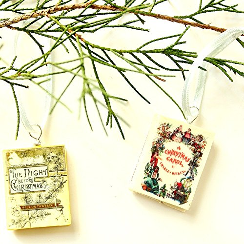 Christmas Classics Story Mini Book Pendant Ornaments from Polymer Clay by Book Beads (Classic Scroll Plated Silver)