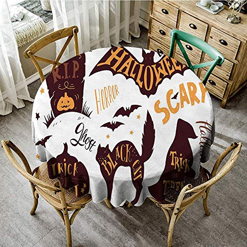 DONEECKL Polyester Tablecloth Vintage Halloween Halloween Symbols Trick or Treat Bat Tombstone Ghost Candy Scary for Kitchen Dinning Tabletop Decoration D51 Dark Brown Orange ()