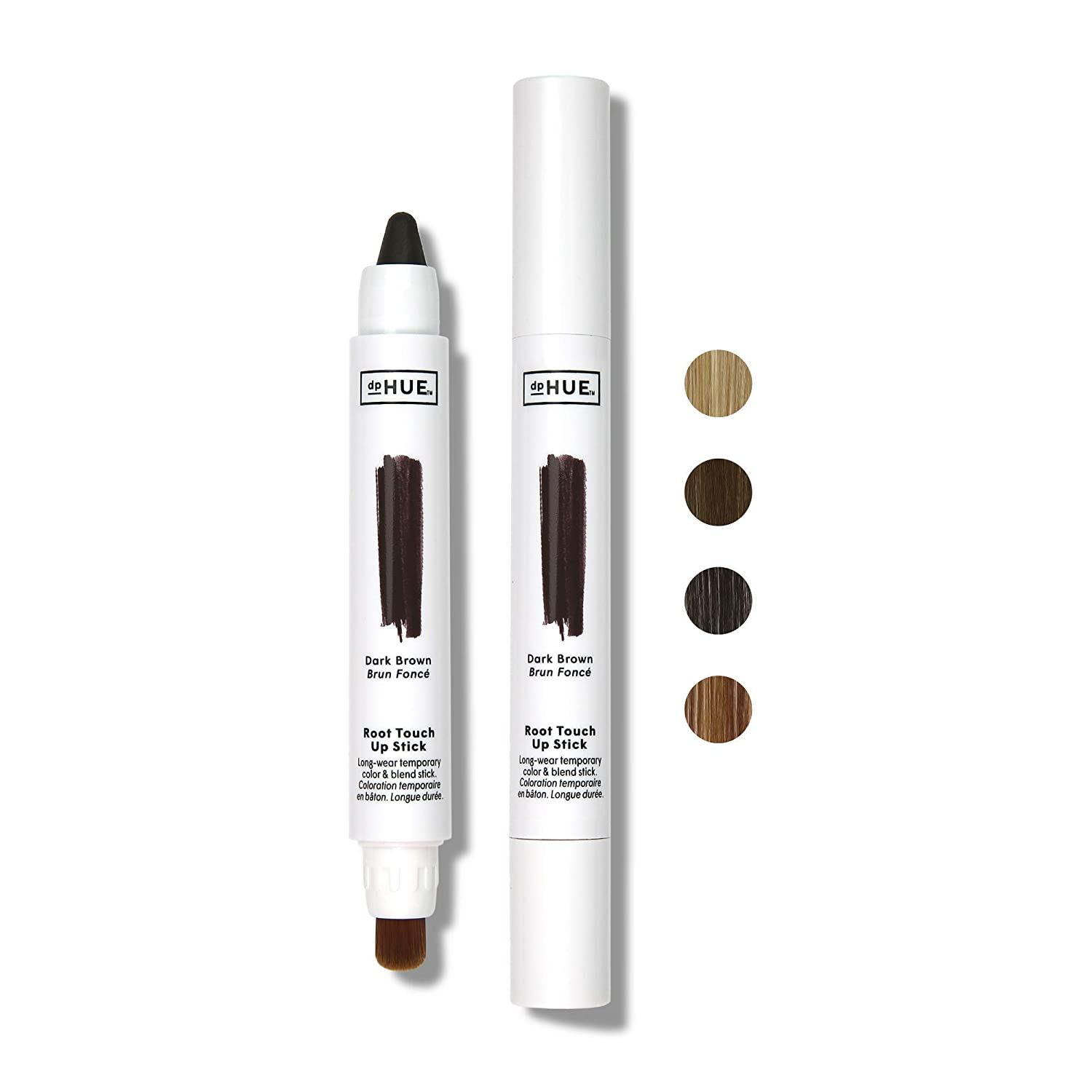 dpHUE Root Touch-Up Stick, Dark Brown - Temporary Hair Color & Blend Brush Stick - Instant, Natural-Looking Gray Root Coverage - Easy to Apply - Longwear, Sweat-Resistant Formula