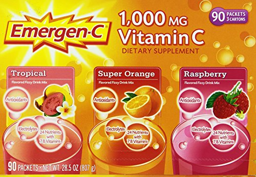 Emergen-C 1,000 mg Vitamin C Dietary Supplement Drink Mix, Super Orange/Raspberry/Tropical, 90 Packets, Net Wt. 28.5 oz. (C Emergen Vitamin C)