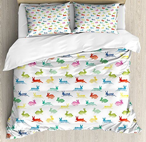Lunarable Paint Duvet Cover Set Queen Size, Cute Rabbits for sale  Delivered anywhere in USA