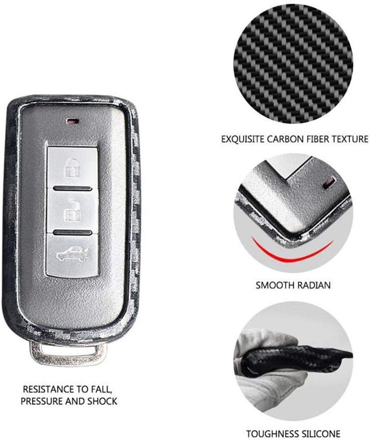 kioski Silicone Souple Voiture Smart Remote Key Fob Cas en Fibre de Carbone Porte-mod/èle pour Mitsubishi Outlander Lancer 10 Pajero Sport EX Colt Grandis L200
