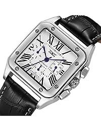 Gute Classic Old Fashion Roman Auto Metal Mechanical Wrist Watch Blue 6hands