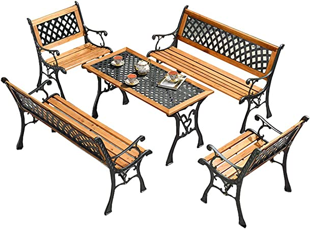 XLOO Muebles de Exterior, Banco de jardín Patio Park, Juego de Bistro de Aluminio para Patio, Acero Grueso, Madera Maciza Natural, para Exteriores: Amazon.es: Hogar