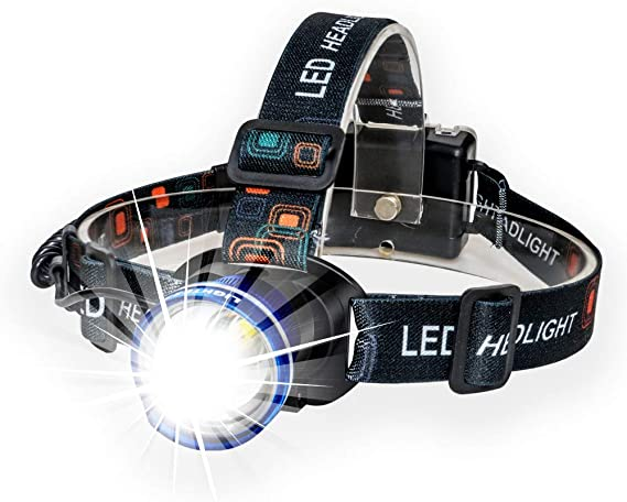 Outdoor Rechargeable Headlamp Waterproof Adjustable Telescopic Zoomable New CS