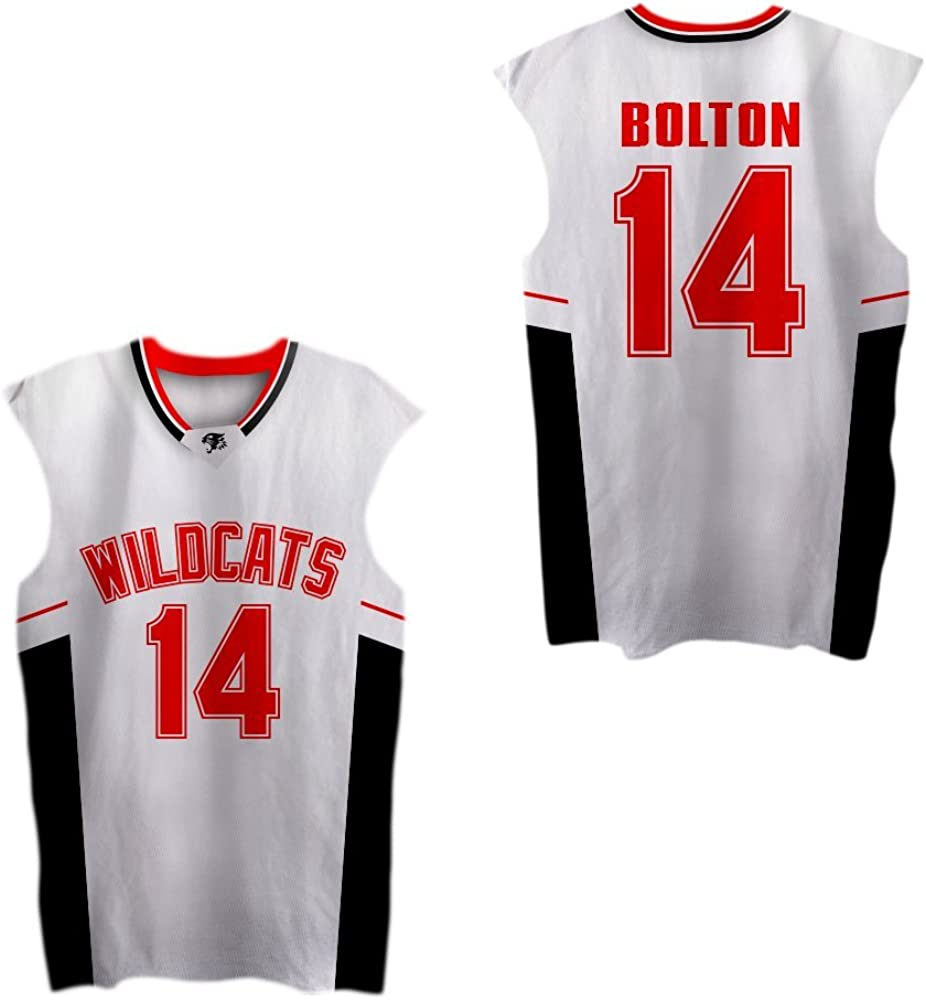 Zac E Troy Bolton 14 East High School Wildcats RedBasketball Jersey VN