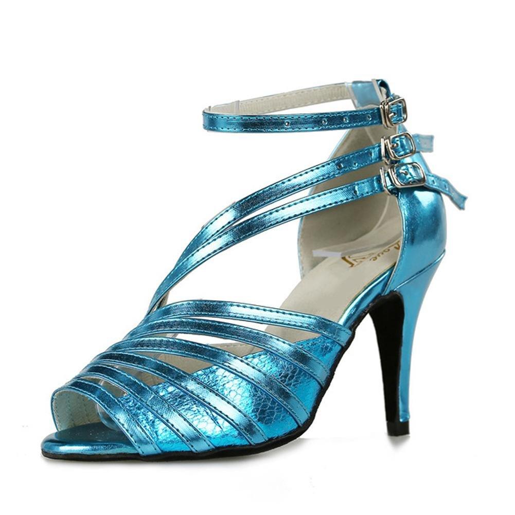 Tanz Sandalen Damen Schuhe Leder Latein Salsa Samba Tango Blau Ballsaal Open Toe Soft Soles Gürtelschnalle Blau Tango Thin High Heels B 949520