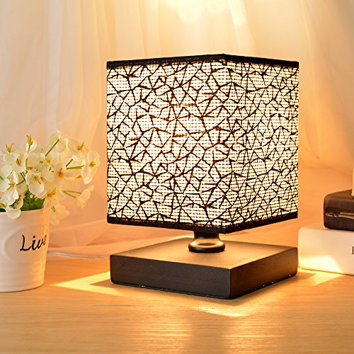 Hhome Plus Simple Modern Table Lamp Bedside Desk Lamp with Square Fabric Shade Long Cable with In Line Switch, Wooden Base - Black - Modern Square Table Lamp