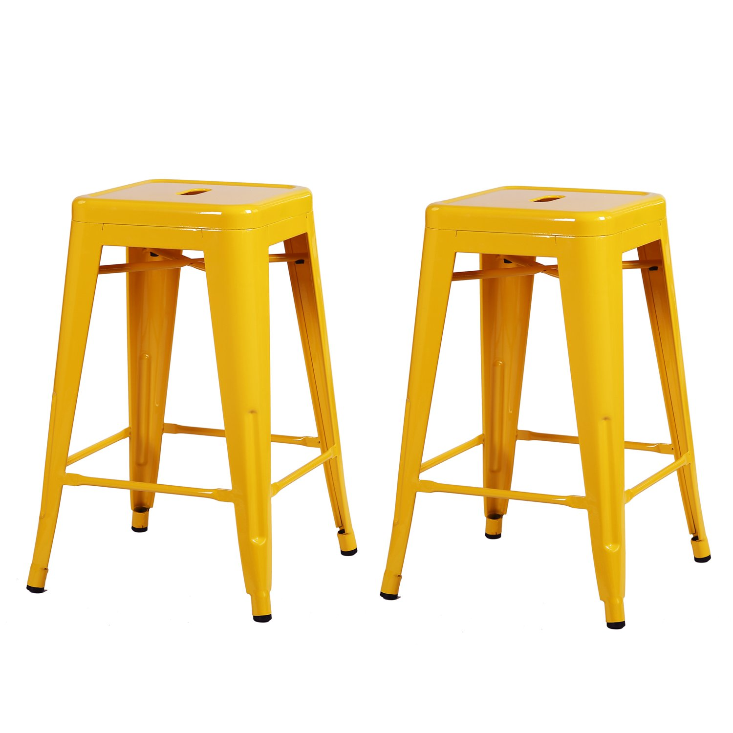 Adeco Yellow 24-inch Metal Tolix Style Chair Glossy