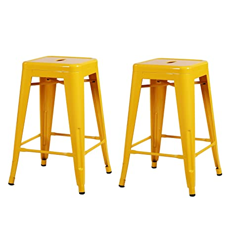 High Quality Adeco Yellow 24 Inch Metal Tolix Style Chair Glossy Counter Stool Set Of 2
